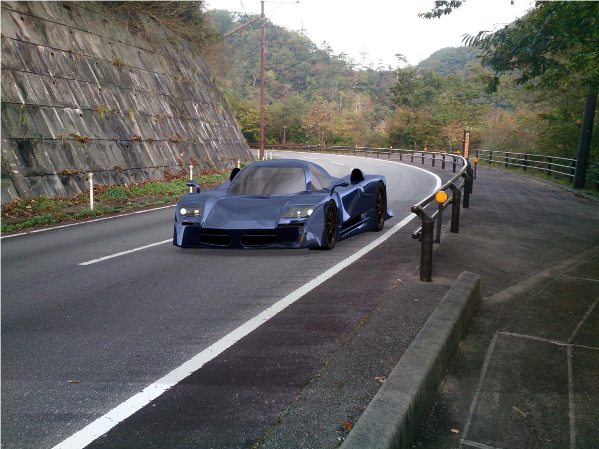 車と写真の合成テスト