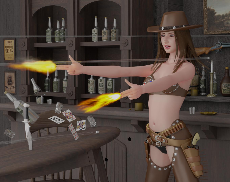 裸の銃を持つ女
