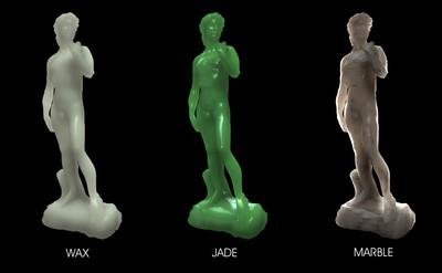 WAX:ロウ、JADE:ヒスイ、MARBLE:大理石