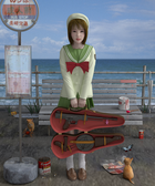 バス停の少女